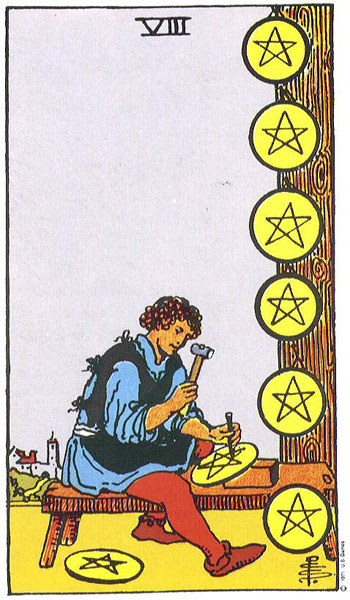 The Pentacles Suit Tarot Cards Meanings In Readings: EIGHT OF PENTACLES